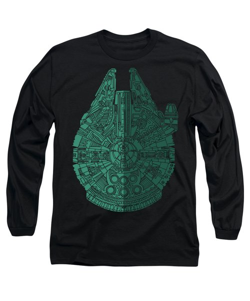 Star Wars Art - Millennium Falcon - Blue Green Long Sleeve T-Shirt
