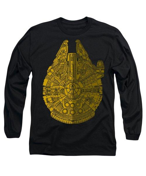 Star Wars Art - Millennium Falcon - Brown Long Sleeve T-Shirt