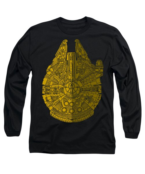 Star Wars Art - Millennium Falcon - Brown Long Sleeve T-Shirt