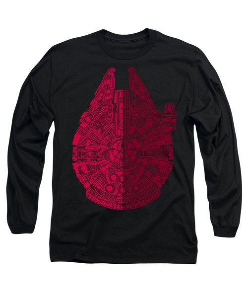 Star Wars Art - Millennium Falcon - Red, Black Long Sleeve T-Shirt