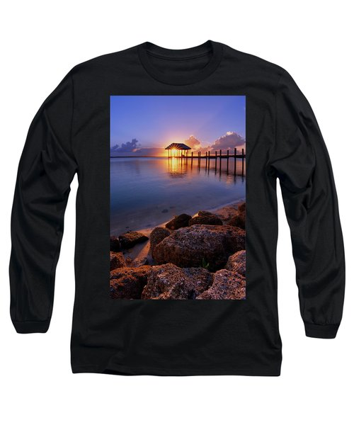 Starburst Sunset Over House Of Refuge Pier In Hutchinson Island At Jensen Beach, Fla Long Sleeve T-Shirt