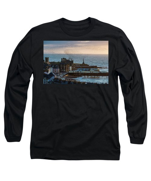Starlings Over Aberystwyth On The West Wales Coast Long Sleeve T-Shirt
