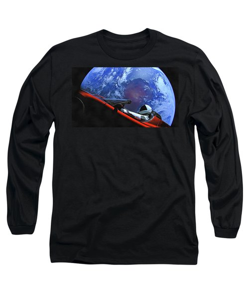 Starman In Tesla With Planet Earth Long Sleeve T-Shirt