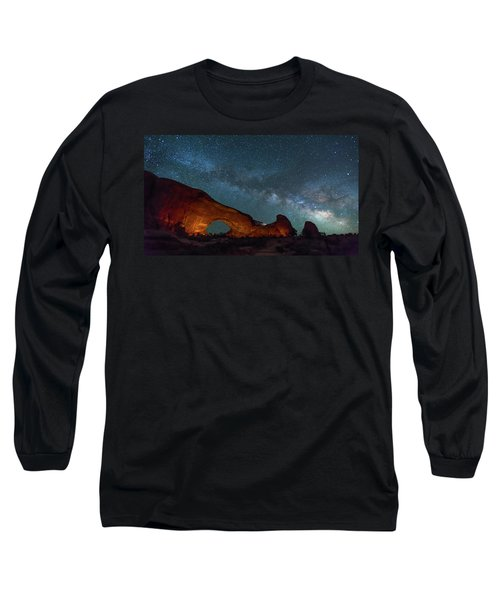 Starry Night At North Window Rock Long Sleeve T-Shirt