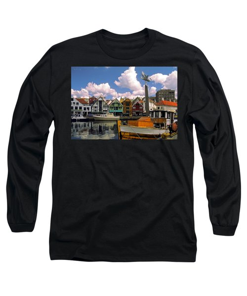 Stavanger Harbor Long Sleeve T-Shirt by Sally Weigand
