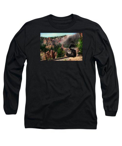 Long Sleeve T-Shirt featuring the photograph Steam Through The Rock Formations by Ken Smith