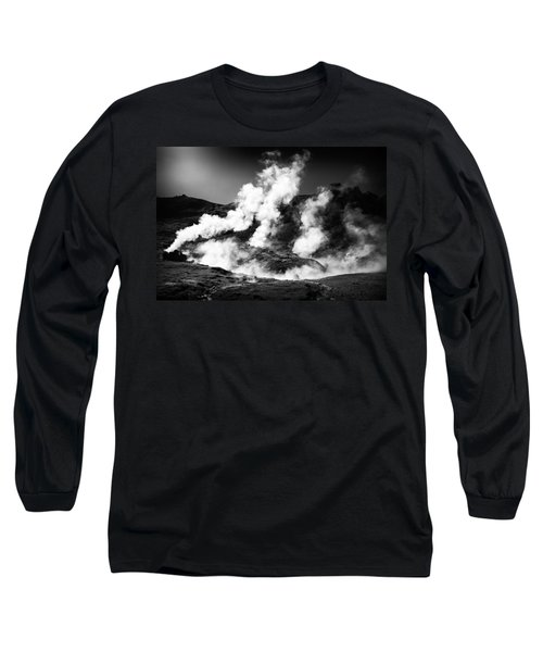 Long Sleeve T-Shirt featuring the photograph Steaming Iceland Black And White Landscape by Matthias Hauser