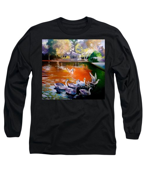 Long Sleeve T-Shirt featuring the painting Stephens Green Dublin Ireland by Paul Weerasekera
