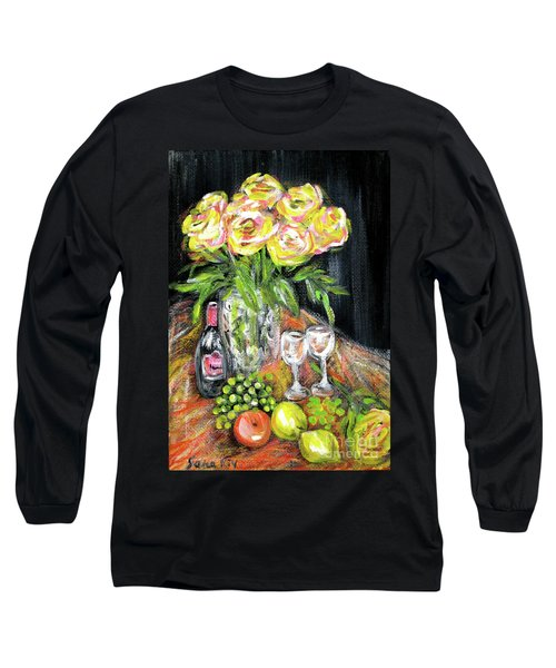 Still Life With Roses, Fruits, Wine. Painting Long Sleeve T-Shirt