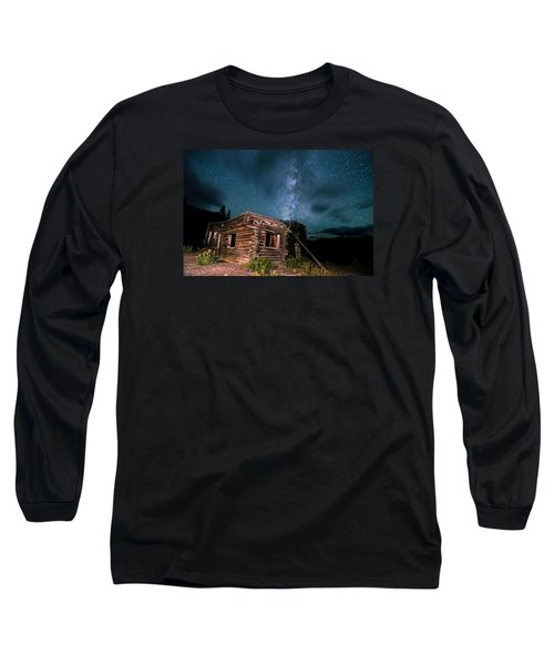 Still Night At Old Cabin Long Sleeve T-Shirt by Michael J Bauer