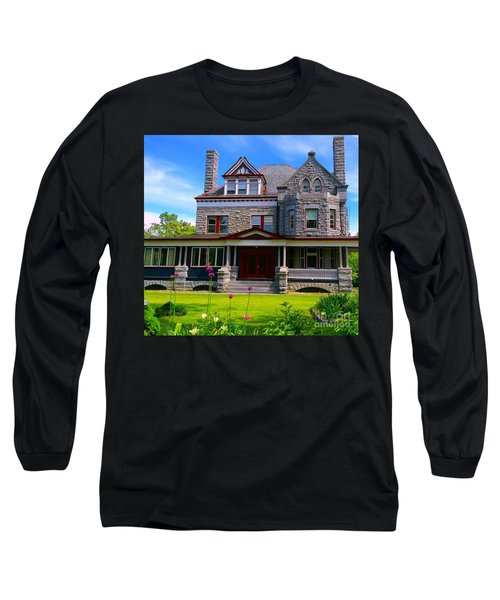 Long Sleeve T-Shirt featuring the photograph Stone Mansion Garden by Becky Lupe