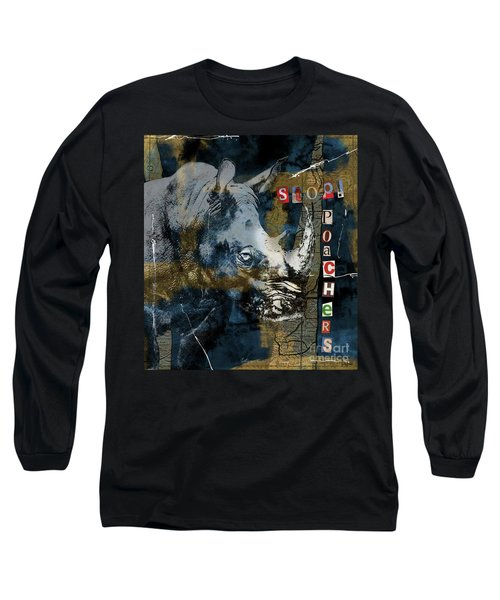Stop Rhino Poachers Wildlife Conservation Art Long Sleeve T-Shirt by Nola Lee Kelsey