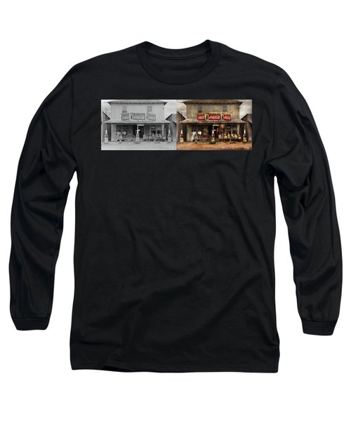 Long Sleeve T-Shirt featuring the photograph Store - Grocery - Mexicanita Cafe 1939 - Side By Side by Mike Savad