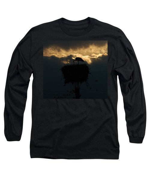 Stork With Evening Sun Light  Long Sleeve T-Shirt