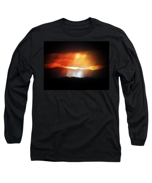 Storm Glow Night Over Santa Fe Mountains Long Sleeve T-Shirt