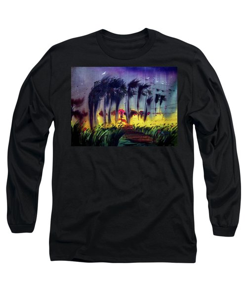 Long Sleeve T-Shirt featuring the painting Storm by Samiran Sarkar