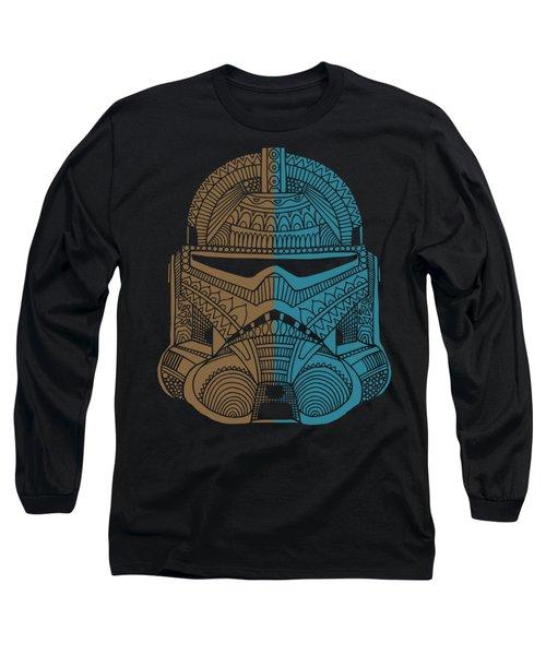 Stormtrooper Helmet - Star Wars Art - Brown Blue Long Sleeve T-Shirt