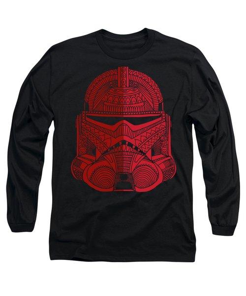 Stormtrooper Helmet - Star Wars Art - Red Long Sleeve T-Shirt