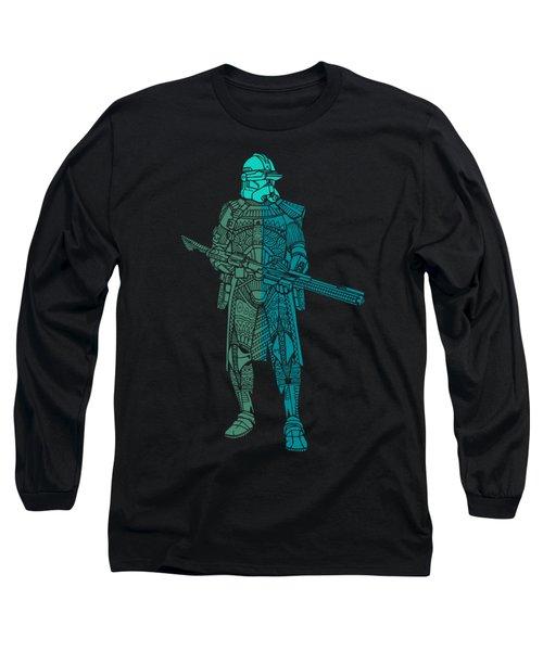 Stormtrooper Samurai - Star Wars Art - Blue, Navy, Teal Long Sleeve T-Shirt
