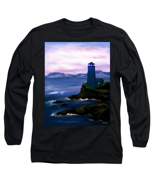Long Sleeve T-Shirt featuring the painting Stormy Blue Night by Susan Kinney