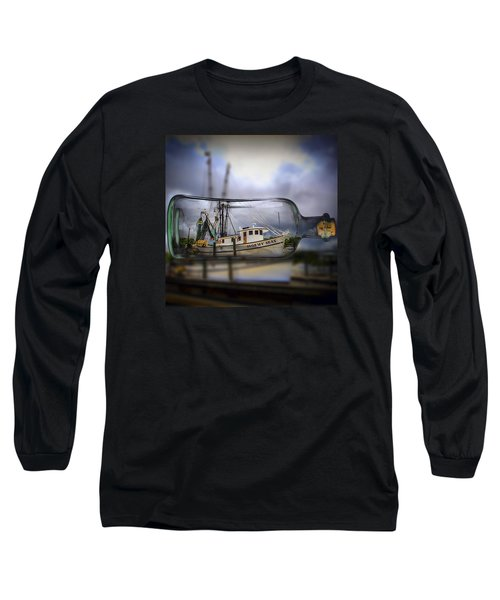 Stormy Seas - Ship In A Bottle Long Sleeve T-Shirt by Bill Barber