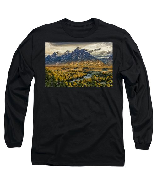 Stormy Sunrise Over The Grand Tetons And Snake River Long Sleeve T-Shirt