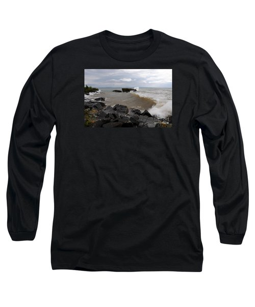 Long Sleeve T-Shirt featuring the photograph Stormy Superior Morning by Sandra Updyke