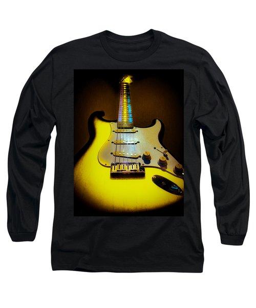 Long Sleeve T-Shirt featuring the digital art Stratocaster Lemon Burst Glow Neck Series by Guitar Wacky