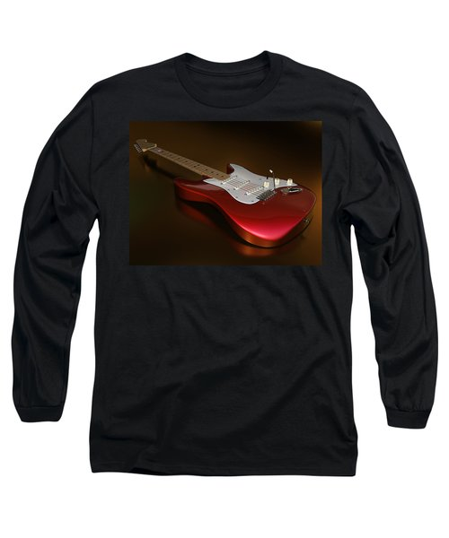 Stratocaster On A Golden Floor Long Sleeve T-Shirt by James Barnes