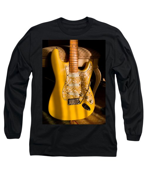 Long Sleeve T-Shirt featuring the digital art Stratocaster Plus In Graffiti Yellow by Guitar Wacky