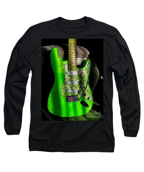 Long Sleeve T-Shirt featuring the photograph Stratocaster Plus In Green by Guitar Wacky