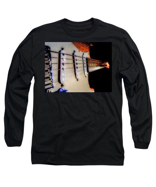 Long Sleeve T-Shirt featuring the digital art Stratocaster Pop Art Tangerine Sparkle Fire Neck Series by Guitar Wacky