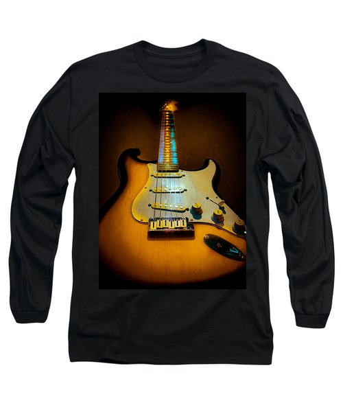 Long Sleeve T-Shirt featuring the digital art Stratocaster Tobacco Burst Glow Neck Series  by Guitar Wacky