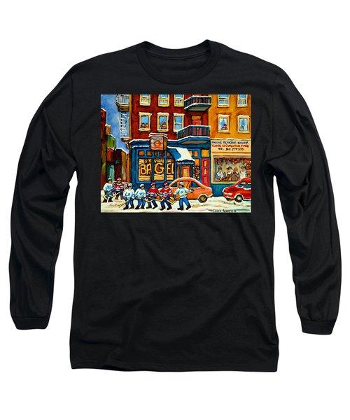 St.viateur Bagel Hockey Montreal Long Sleeve T-Shirt