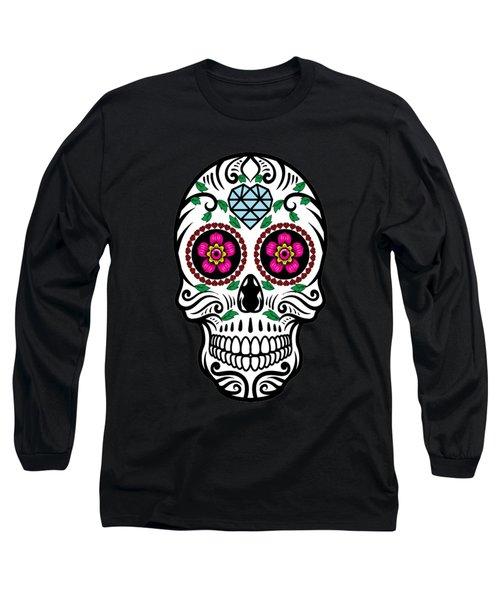 Sugar Skull Floral Skull Long Sleeve T-Shirt