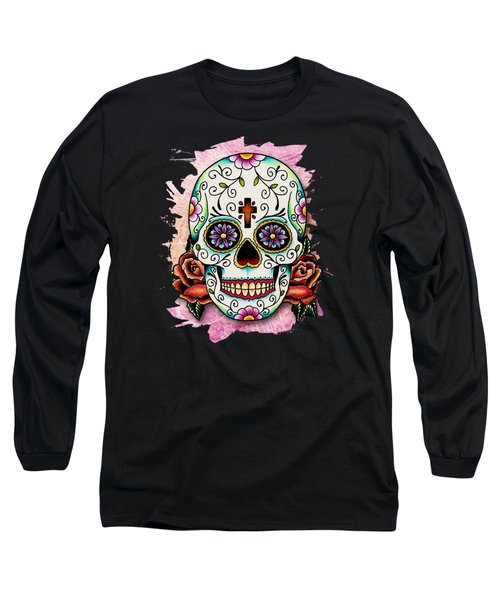 Sugar Skull Long Sleeve T-Shirt by Maria Arango