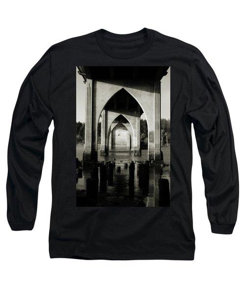 Suislaw River Bridge In Florence Oregon Long Sleeve T-Shirt