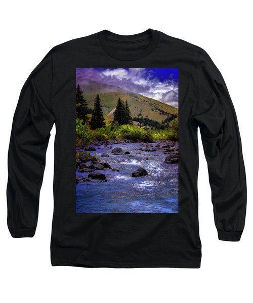 Long Sleeve T-Shirt featuring the photograph Summer At The Animas River by Ellen Heaverlo