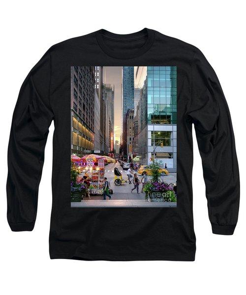 Summer Evening, New York City  -17705-17711 Long Sleeve T-Shirt by John Bald