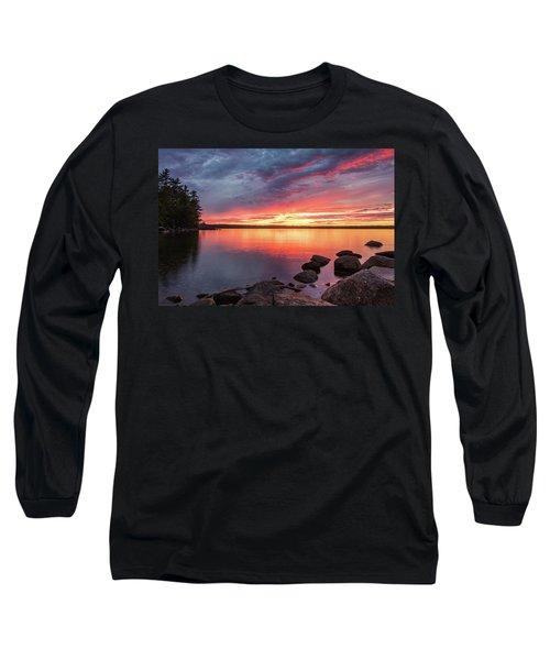 Summer Sets Over Sebago Lake, Maine Long Sleeve T-Shirt