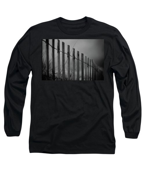 Long Sleeve T-Shirt featuring the photograph Summer Storm Beach Fence Mono by Laura Fasulo