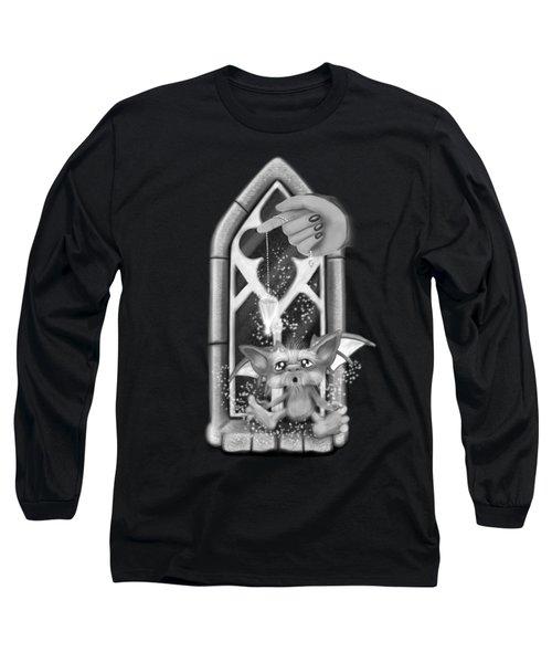 Summoned Pet - Black And White Fantasy Art Long Sleeve T-Shirt
