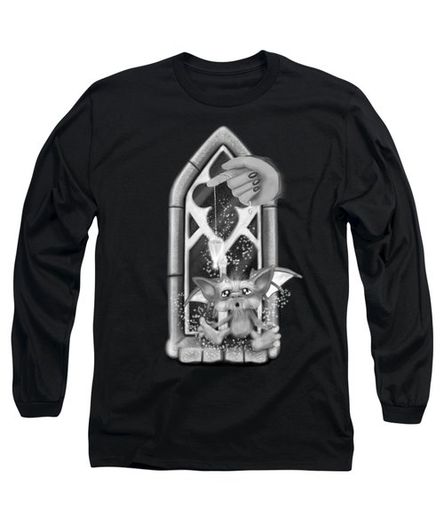 Summoned Pet - Black And White Fantasy Art Long Sleeve T-Shirt