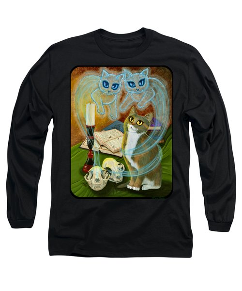 Long Sleeve T-Shirt featuring the painting Summoning Old Friends - Ghost Cats Magic by Carrie Hawks