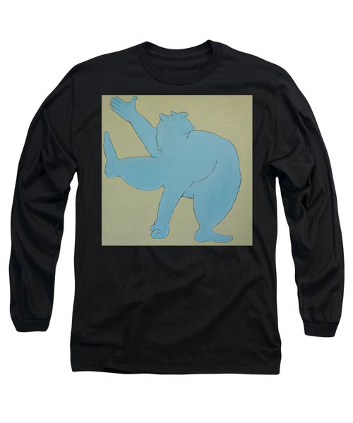 Long Sleeve T-Shirt featuring the painting Sumo Wrestler In Blue by Ben Gertsberg