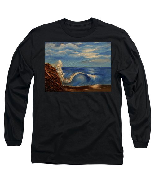 Long Sleeve T-Shirt featuring the mixed media Sun Over The Ocean by Angela Stout