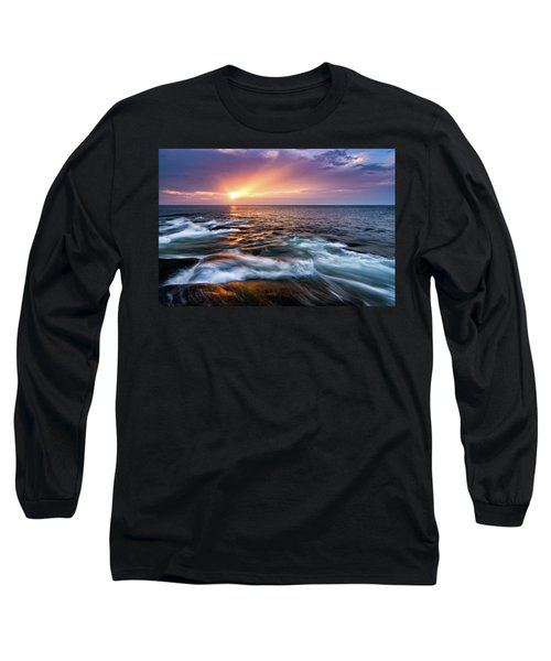 Long Sleeve T-Shirt featuring the photograph Sun Rays, Halibut Pt. Rockport Ma. by Michael Hubley
