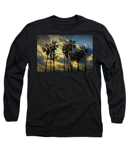 Long Sleeve T-Shirt featuring the photograph Sunbeams And Palm Trees By Cabrillo Beach by Randall Nyhof