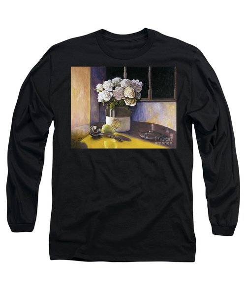 Long Sleeve T-Shirt featuring the painting Sunday Morning And Roses Redux by Marlene Book