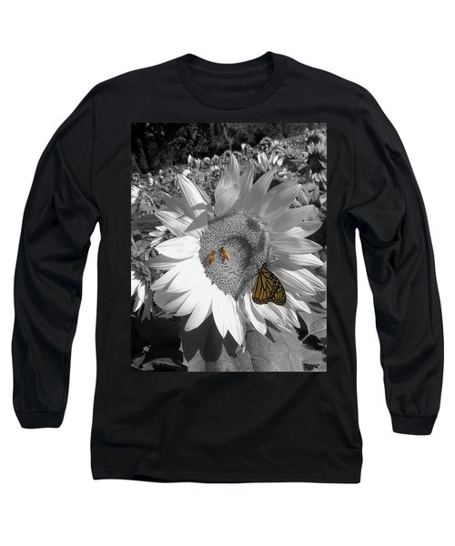 Sunflower In Black And White Long Sleeve T-Shirt